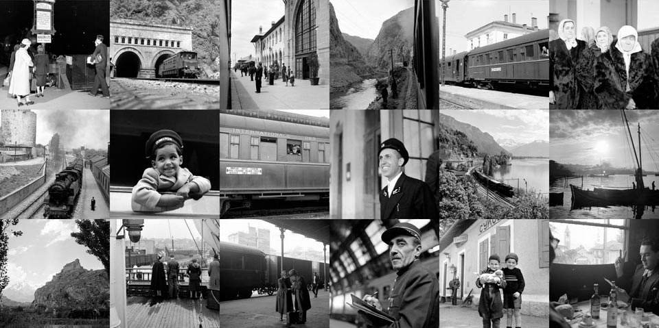 Collage foto's van de Simplon Orient-Exprres door Jack Birns, 1950