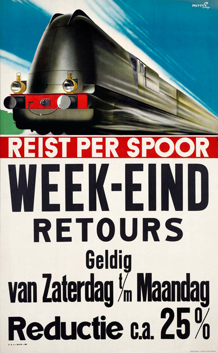 Affiche Weekeind-retours, Frans Mettes, 1939 (Spoorwegmuseum)